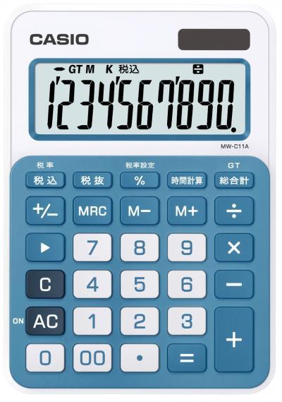 カシオ カラフル電卓 ミニジャストタイプ MW-C11A